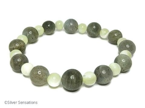 Grey Labradorite & Mother of Pearl Beaded Bracelet